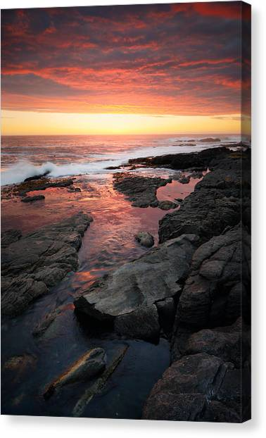 South Africa Canvas Print - Sunset Over Rocky Coastline by Johan Swanepoel