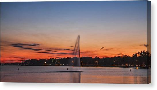 Sunset Over Storm Lake Canvas Print by T C Hoffman