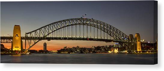 Sunset Over Sydney Harbour Bridge Canvas Print by Kevin Hellon