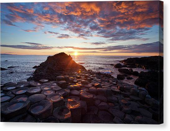 Sunset Over The Giants Causeway Canvas Print by Gareth Mccormack