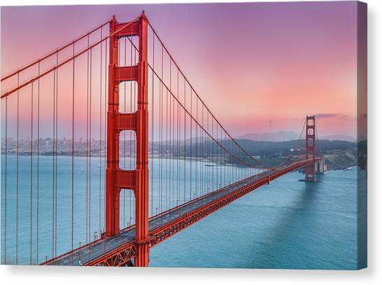City Sunsets Canvas Print - Sunset Over The Golden Gate Bridge by Sarit Sotangkur