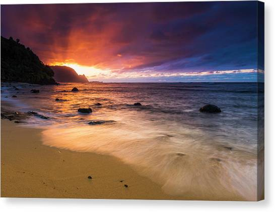 Beach Cliffs Canvas Print - Sunset Over The Na Pali Coast by Russ Bishop