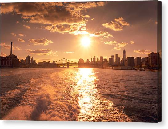 City Sunsets Canvas Print - Sunset Over The New York City Skyline by Vivienne Gucwa