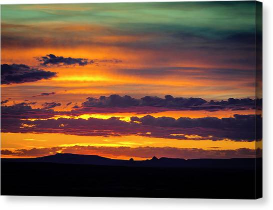Petrified Forest Canvas Print - Sunset Over The Painted Desert by Jerry Ginsberg