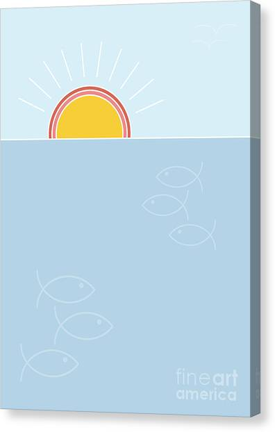 Sun Canvas Print - Sunset Over The Sea Background, Flat by Lucky Team Studio