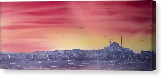 Sunset Over The Sea Of Marmar Canvas Print
