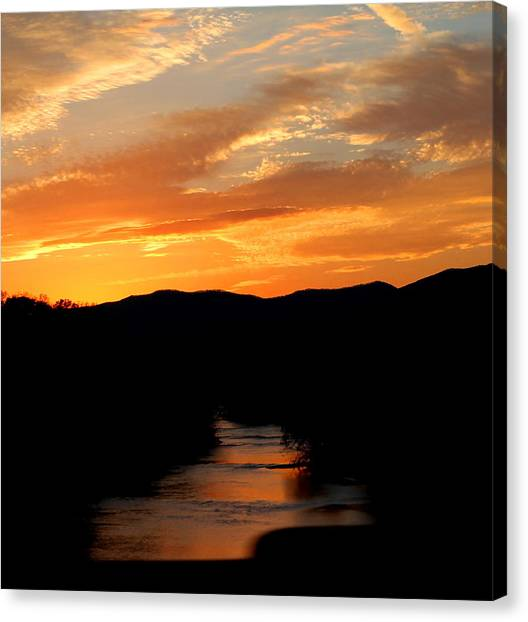 Canvas Print featuring the photograph Sunset Over The Shenandoah by Candice Trimble
