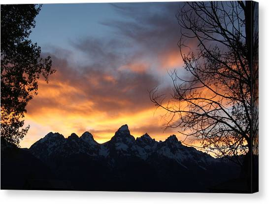 Sunset Over The Tetons Canvas Print