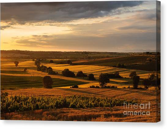 Sunset Over The Umbrian Countryside At Paciano Canvas Print