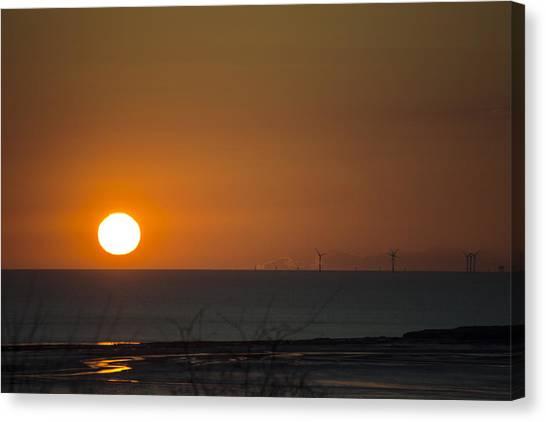 Sunset Over The Windfarm Canvas Print