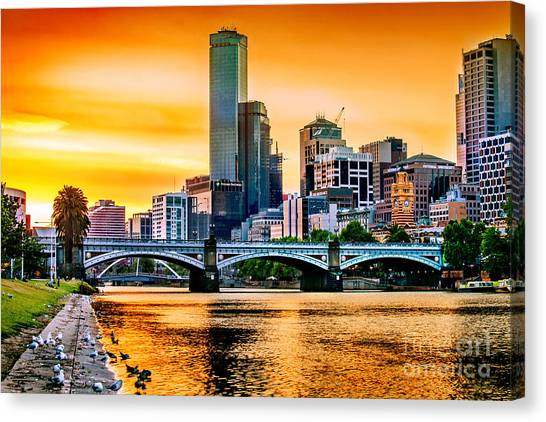 Bathing Canvas Print - Sunset Over The Yarra by Az Jackson