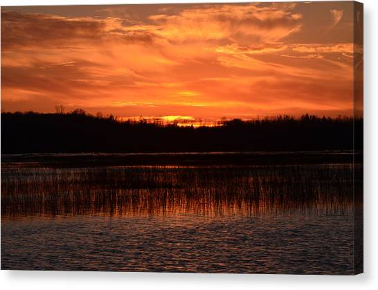 Sunset Over Tiny Marsh Canvas Print