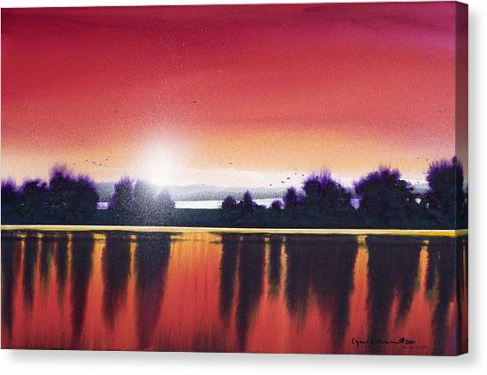 Sunset Over Two Lakes Canvas Print