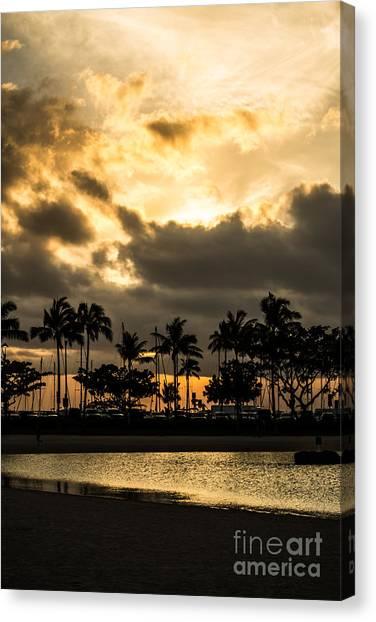 Sunset Over Waikiki Canvas Print
