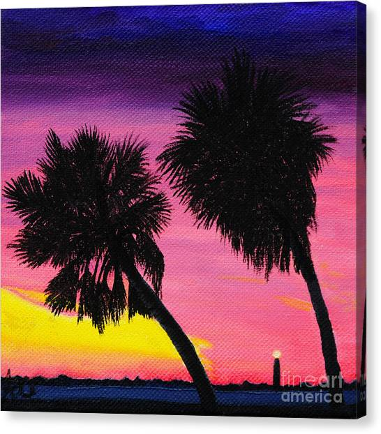 Sunset Palms At Fort Desoto Canvas Print