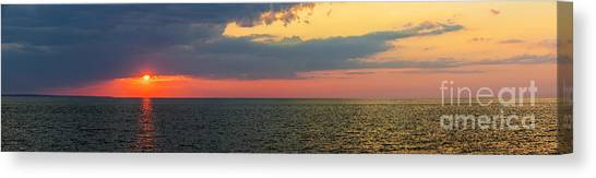 Sun Set Canvas Print - Sunset Panorama Over Atlantic Ocean by Elena Elisseeva