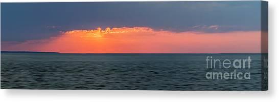 Sun Set Canvas Print - Sunset Panorama Over Ocean by Elena Elisseeva