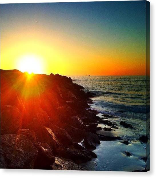 Wine Canvas Print - #sunset #photooftheday #ocean #sun #fun by Thewinery Wine