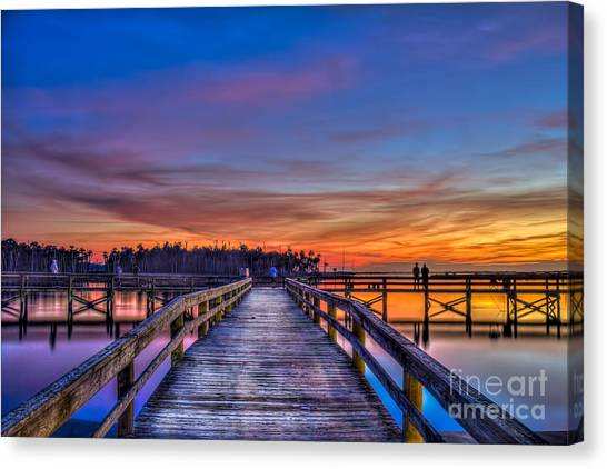 Low Tide Canvas Print - Sunset Pier Fishing by Marvin Spates