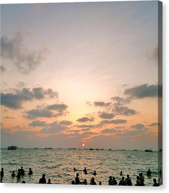 Sunset Horizon Canvas Print - Sunset Rameshwaram by Raimond Klavins