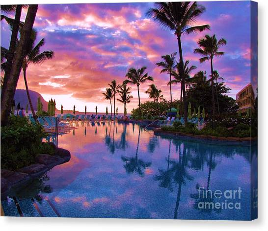 Sunset Reflection St Regis Pool Canvas Print
