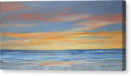 Sunset Reflections - Beach Sand Waves Canvas Print by Rosie Brown