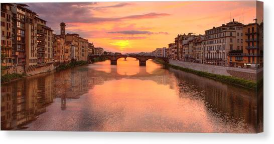 Sunset Reflections In Florence Italy Canvas Print