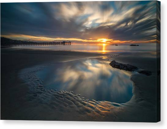 Reef Canvas Print - Sunset Reflections In San Diego Landscape Version by Larry Marshall
