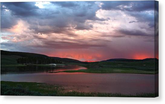 Sunset Reflections Over Yellowstone River In Hayden Valley Canvas Print