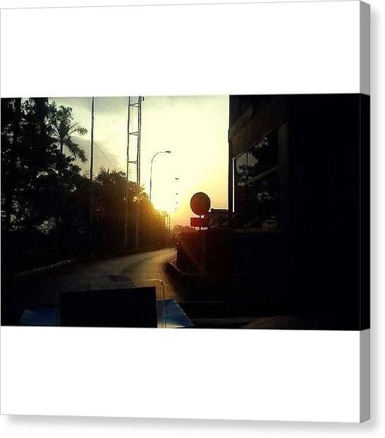Shakira Canvas Print - #sunset #road  #tree #highway #trip by Inas Shakira