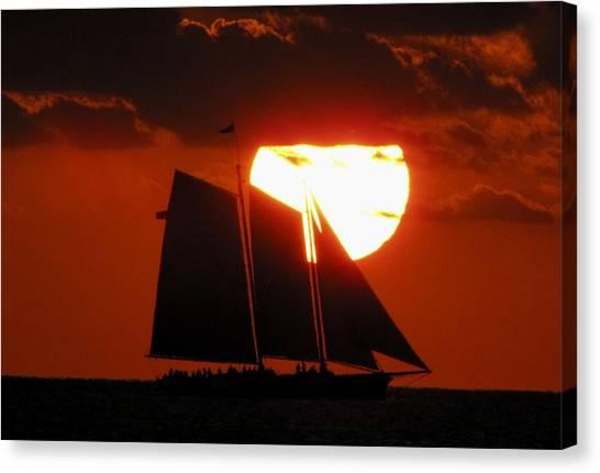 Canvas Print featuring the photograph Key West Sunset Sail 5 by Bob Slitzan