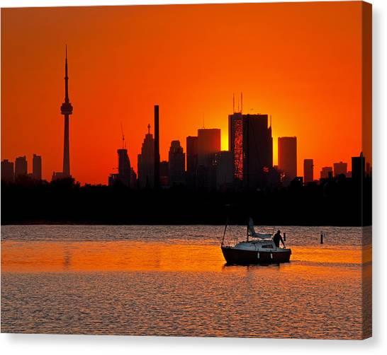 Sunset Sail Ashbridges Bay Toronto Canada Canvas Print
