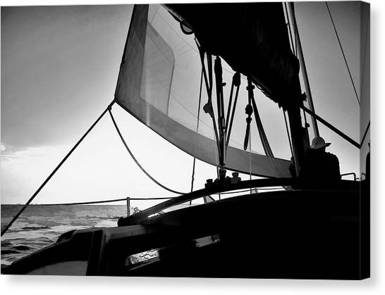 Sunset Sail In Black And White Canvas Print