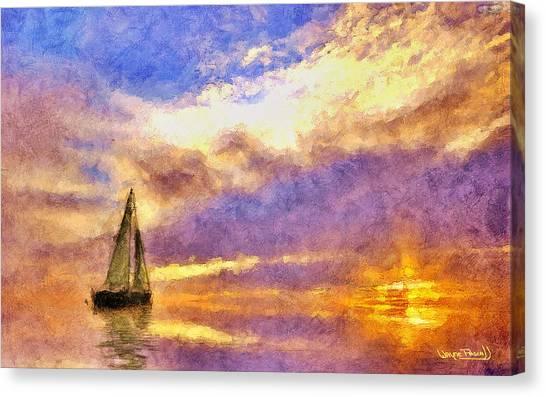 Sunset Sail Canvas Print by Wayne Pascall
