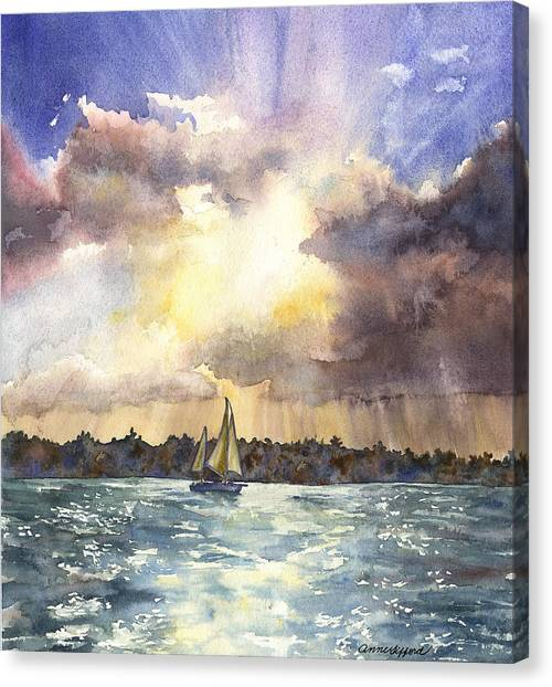 Sailboat Canvas Print - Sailing Into The Sunset by Anne Gifford