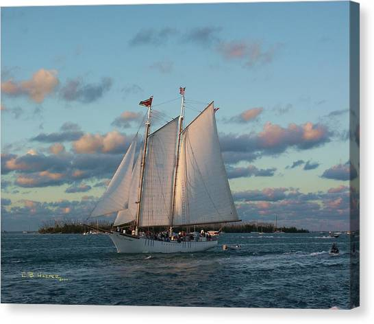 Sunset Schooner Canvas Print
