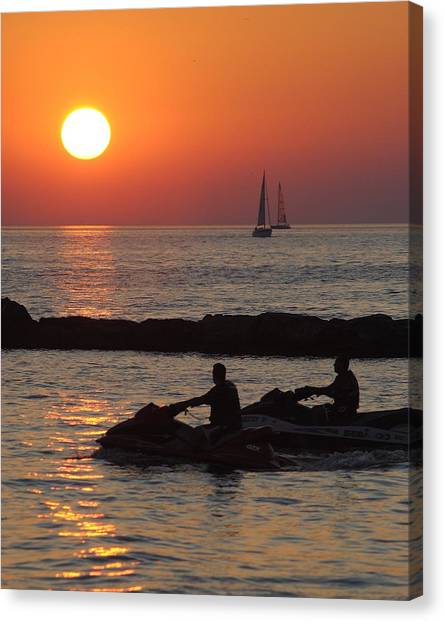 Jet Skis Canvas Print - Sunset Silhouette by Frozen in Time Fine Art Photography