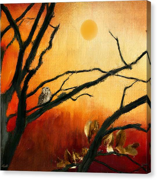Maple Leaf Art Canvas Print - Sunset Sitting by Lourry Legarde