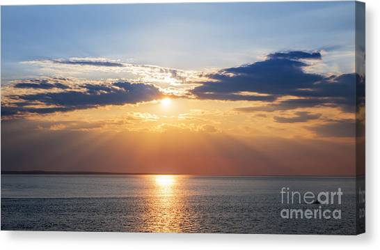 Sun Set Canvas Print - Sunset Sky Over Ocean by Elena Elisseeva