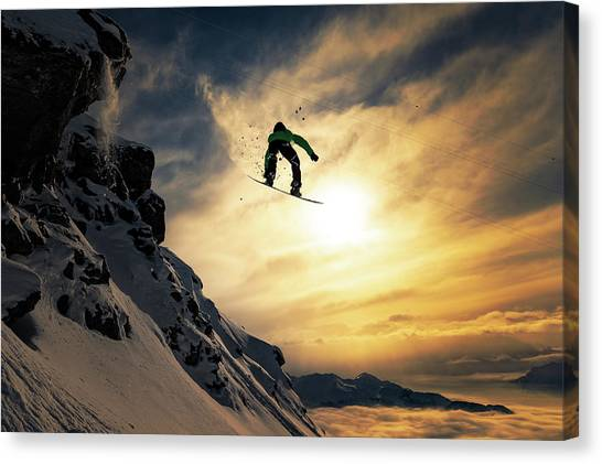 Skiing Canvas Print - Sunset Snowboarding by Jakob Sanne