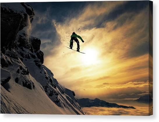Snowboarding Canvas Print - Sunset Snowboarding by Jakob Sanne