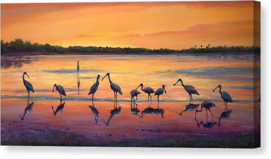 Spoonbills Canvas Print - Sunset Spoonbills by Laurie Hein