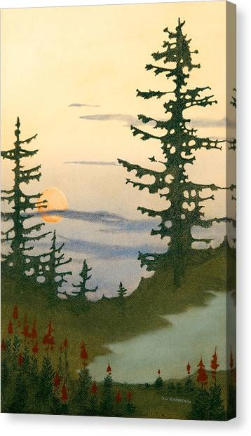 Sunset Spruces Canvas Print by Bruce Richardson