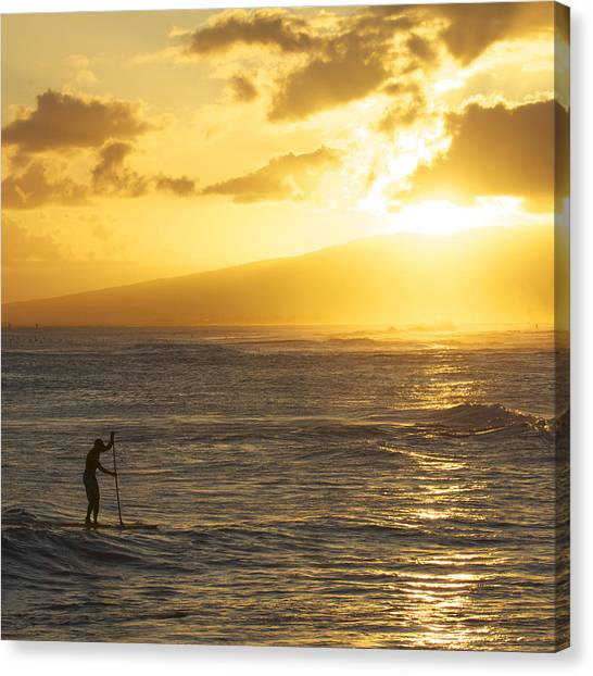 Surfing Canvas Print - Sunset Stand-up by Brian Governale