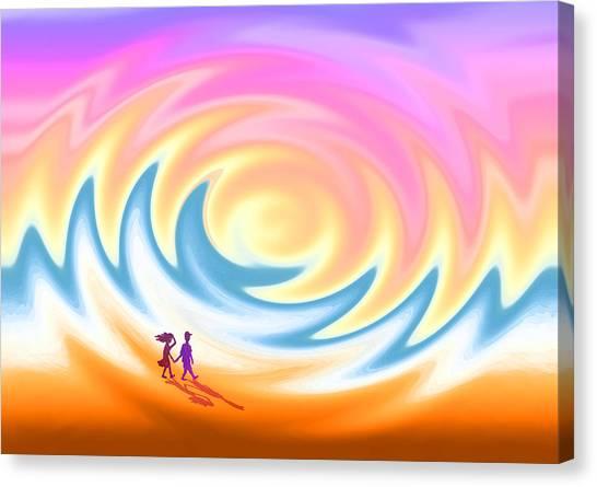 Sunset Stroll On A Windy Beach Canvas Print
