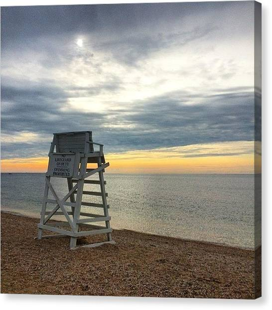 Lifeguard Canvas Print - #sunset #sun #beach #longisland by Shawn Hope
