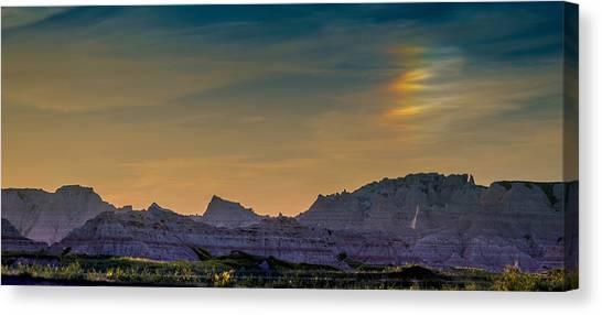 Sunset Sundogs At The Badlands Canvas Print