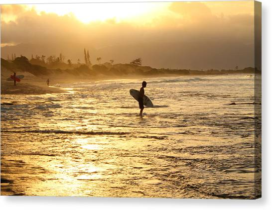 Sunset Surf Session Canvas Print