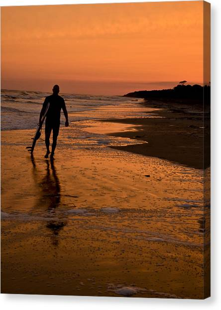 Sunset Surfer Hilton Head Sc Canvas Print