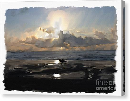 Sunset Surfer Canvas Print by Roger Lighterness